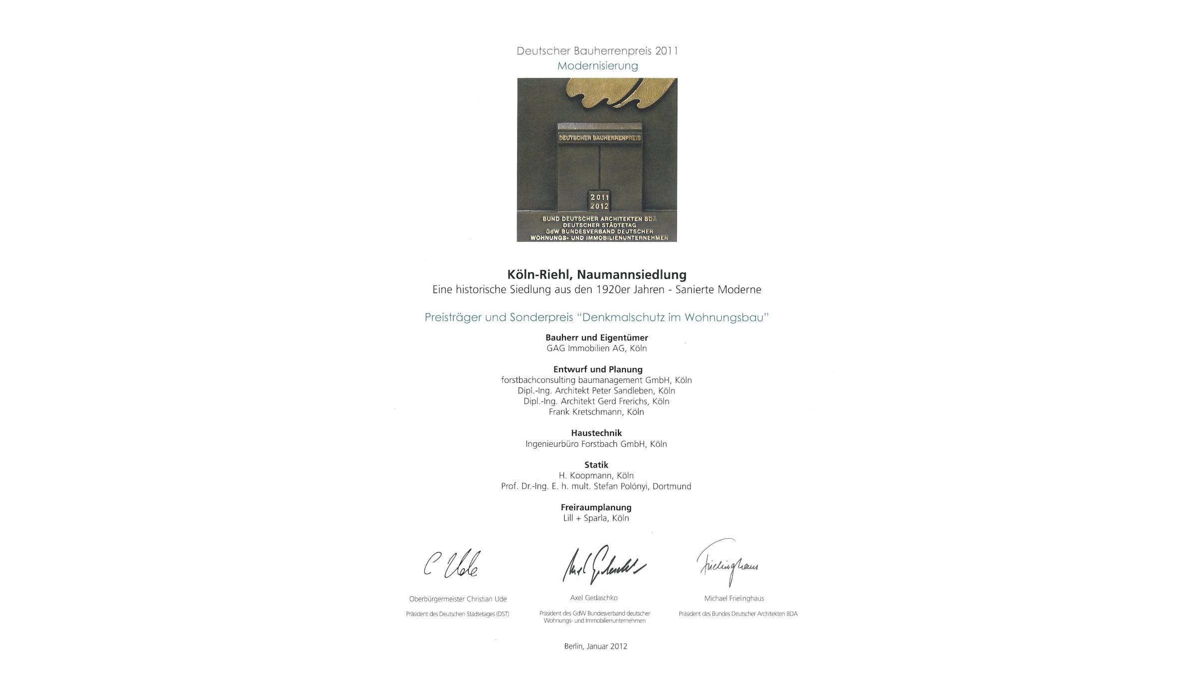 Architekt Koeln Auszeichnung Bauherrenpreis 2011