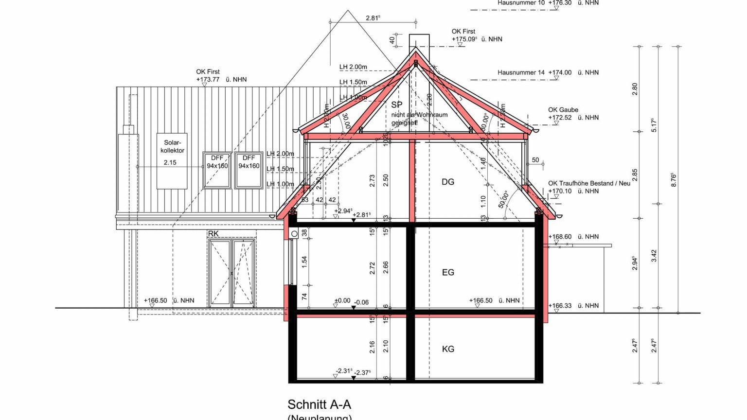Architekt Koeln Umbau Schnitt