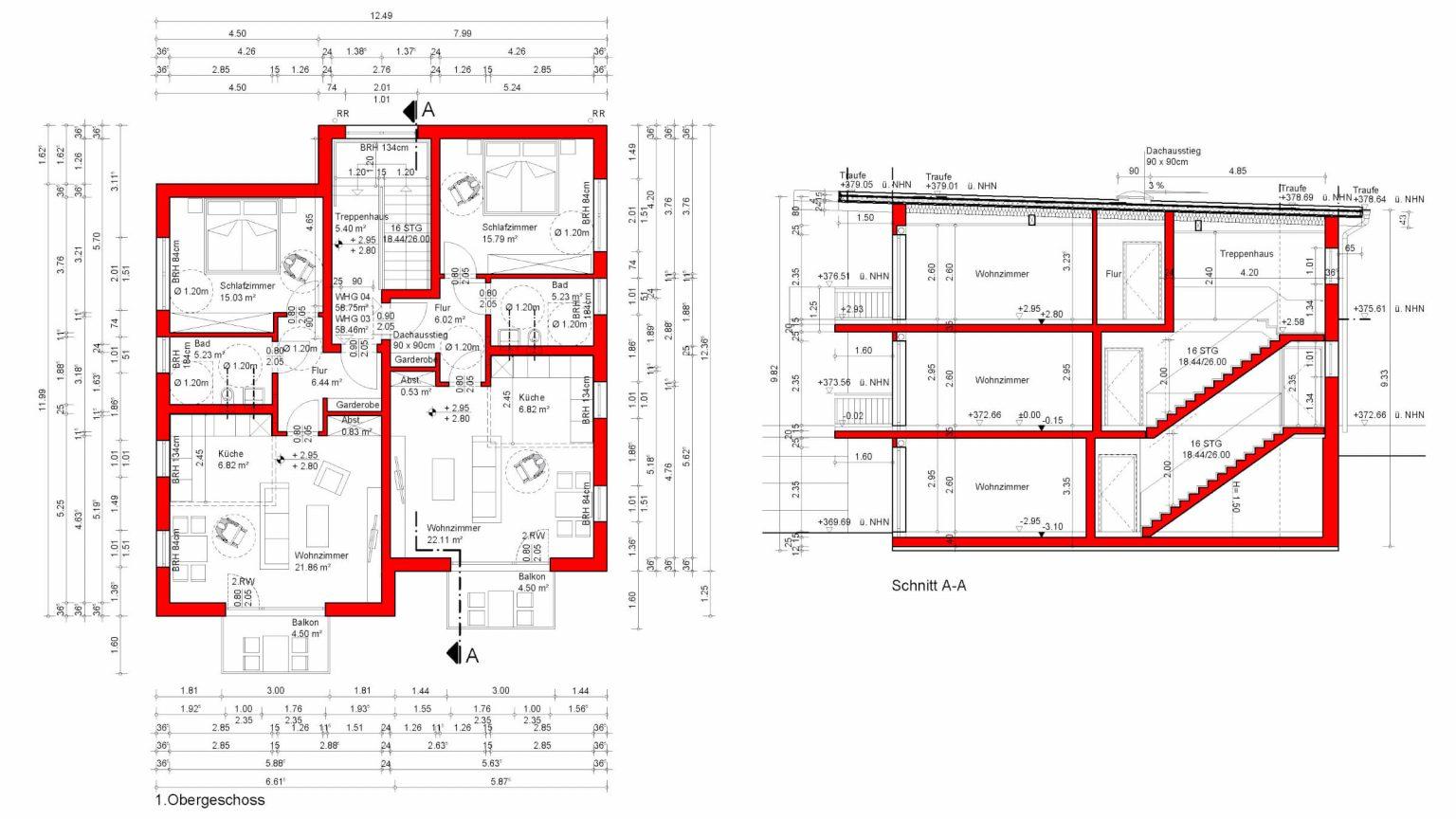 Architekt Koeln Wohnungsbau OG Schnitt